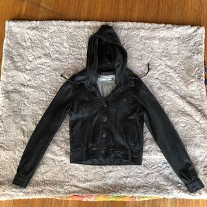 NWOT Mike and Chris leather hoodie.